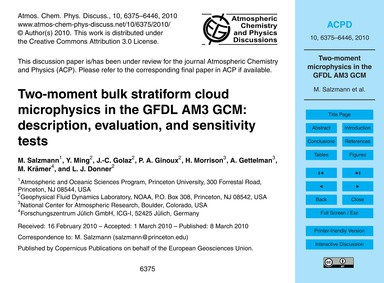 Two-moment Bulk Stratiform Cloud Microph... by Salzmann, M.