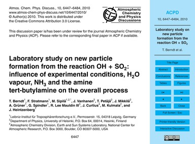 Laboratory Study on New Particle Formati... by Berndt, T.