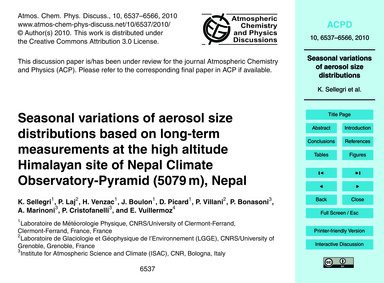 Seasonal Variations of Aerosol Size Dist... by Sellegri, K.