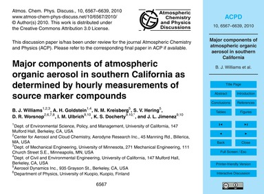 Major Components of Atmospheric Organic ... by Williams, B. J.