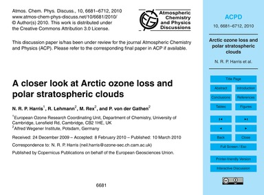 A Closer Look at Arctic Ozone Loss and P... by Harris, N. R. P.