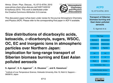 Size Distributions of Dicarboxylic Acids... by Agarwal, S.