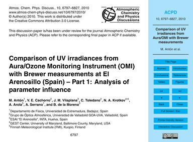 Comparison of Uv Irradiances from Aura/O... by Antón, M.