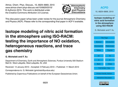 Isotope Modeling of Nitric Acid Formatio... by Michalski, G.
