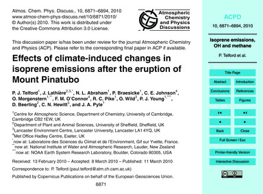 Effects of Climate-induced Changes in Is... by Telford, P. J.