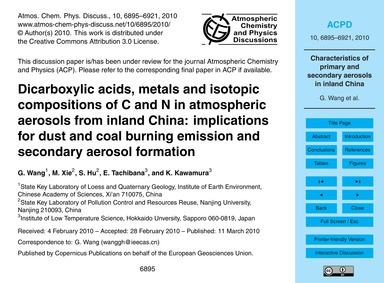 Dicarboxylic Acids, Metals and Isotopic ... by Wang, G.