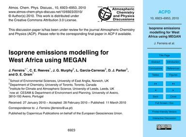 Isoprene Emissions Modelling for West Af... by Ferreira, J.