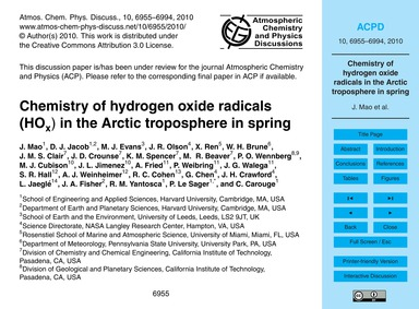 Chemistry of Hydrogen Oxide Radicals (Ho... by Mao, J.