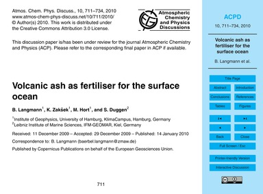 Volcanic Ash as Fertiliser for the Surfa... by Langmann, B.