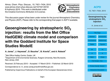 Geoengineering by Stratospheric So2 Inje... by Jones, A.