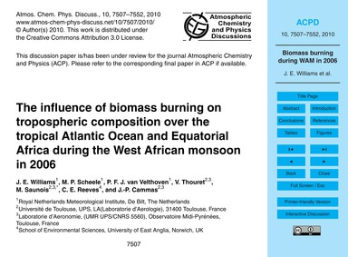 The Influence of Biomass Burning on Trop... by Williams, J. E.