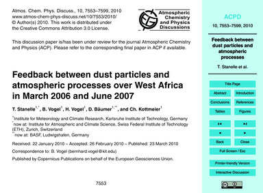 Feedback Between Dust Particles and Atmo... by Stanelle, T.