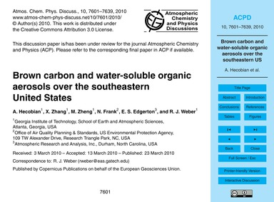Brown Carbon and Water-soluble Organic A... by Hecobian, A.