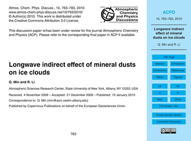 Longwave Indirect Effect of Mineral Dust... by Min, Q.