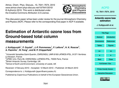 Estimation of Antarctic Ozone Loss from ... by Kuttippurath, J.