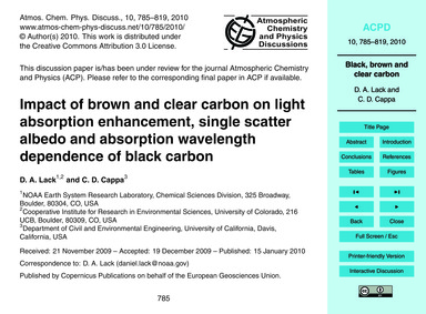 Impact of Brown and Clear Carbon on Ligh... by Lack, D. A.