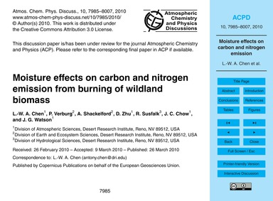 Moisture Effects on Carbon and Nitrogen ... by Chen, L.-w. A.