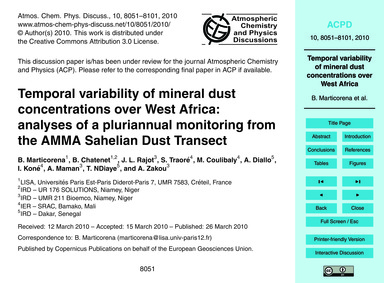 Temporal Variability of Mineral Dust Con... by Marticorena, B.