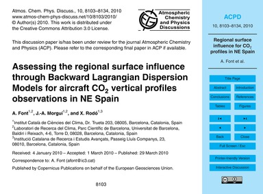 Assessing the Regional Surface Influence... by Font, A.