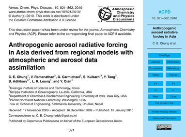 Anthropogenic Aerosol Radiative Forcing ... by Chung, C. E.
