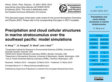 Precipitation and Cloud Cellular Structu... by Wang, H.