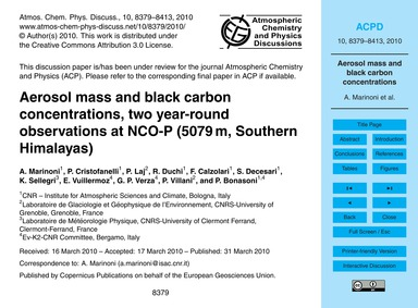 Aerosol Mass and Black Carbon Concentrat... by Marinoni, A.