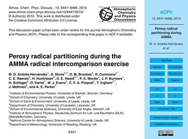 Peroxy Radical Partitioning During the A... by Andrés-hernández, M. D.