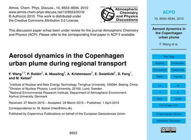 Aerosol Dynamics in the Copenhagen Urban... by Wang, F.
