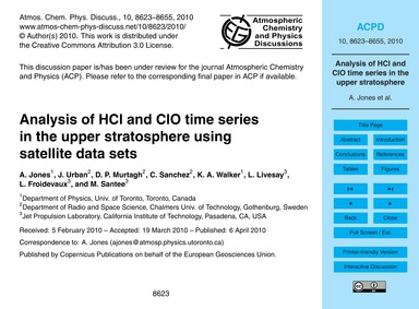 Analysis of Hcl and Clo Time Series in t... by Jones, A.