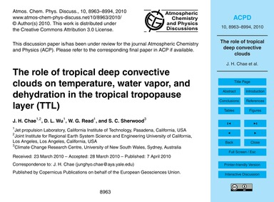 The Role of Tropical Deep Convective Clo... by Chae, J. H.