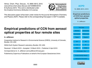 Empirical Predictions of Ccn from Aeroso... by Jefferson, A.