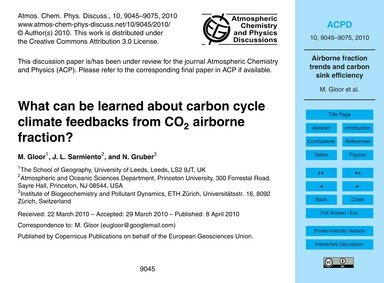 What Can Be Learned About Carbon Cycle C... by Gloor, M.