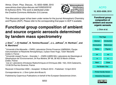 Functional Group Composition of Ambient ... by Dron, J.