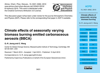 Climate Effects of Seasonally Varying Bi... by Jeong, G.-r.