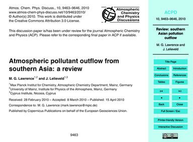 Atmospheric Pollutant Outflow from South... by Lawrence, M. G.