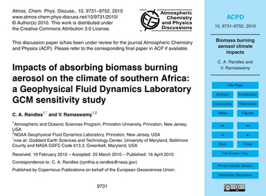 Impacts of Absorbing Biomass Burning Aer... by Randles, C. A.