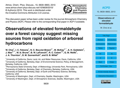 Observations of Elevated Formaldehyde Ov... by Choi, W.
