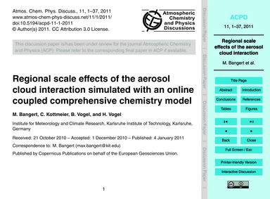 Regional Scale Effects of the Aerosol Cl... by Bangert, M.