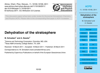 Dehydration of the Stratosphere : Volume... by Schoeberl, M.