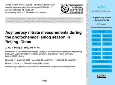 Acyl Peroxy Nitrate Measurements During ... by Xu, Z.