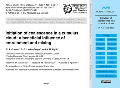 Initiation of Coalescence in a Cumulus C... by Cooper, W. A.