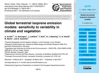 Global Terrestrial Isoprene Emission Mod... by Arneth, A.