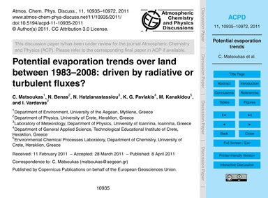 Potential Evaporation Trends Over Land B... by Matsoukas, C.