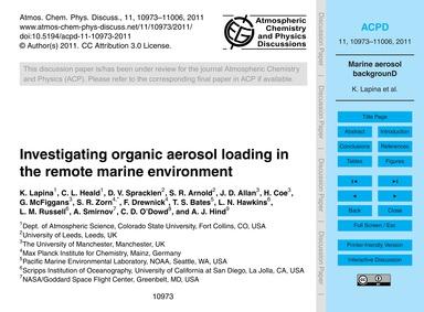 Investigating Organic Aerosol Loading in... by Lapina, K.