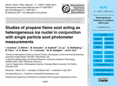 Studies of Propane Flame Soot Acting as ... by Crawford, I.