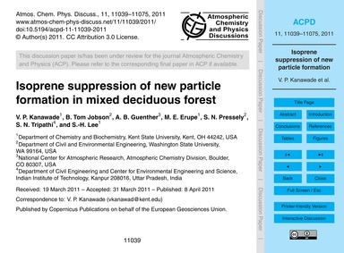 Isoprene Suppression of New Particle For... by Kanawade, V. P.