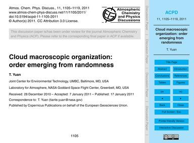 Cloud MacRoscopic Organization: Order Em... by Yuan, T.