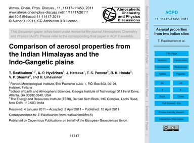 Comparison of Aerosol Properties from th... by Raatikainen, T.