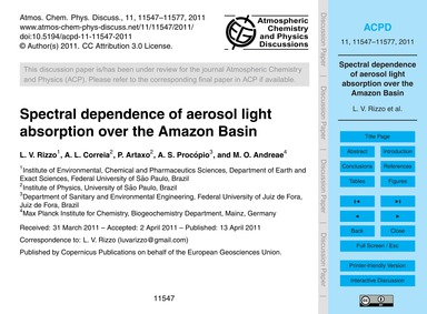 Spectral Dependence of Aerosol Light Abs... by Rizzo, L. V.