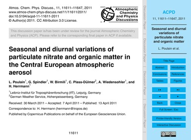 Seasonal and Diurnal Variations of Parti... by Poulain, L.